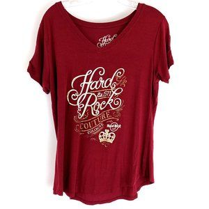 Hard Rock Cafe Couture Red Lace Cold Shoulder Tee Shirt  L